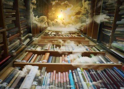 lots of books, reaching all the way to the sky